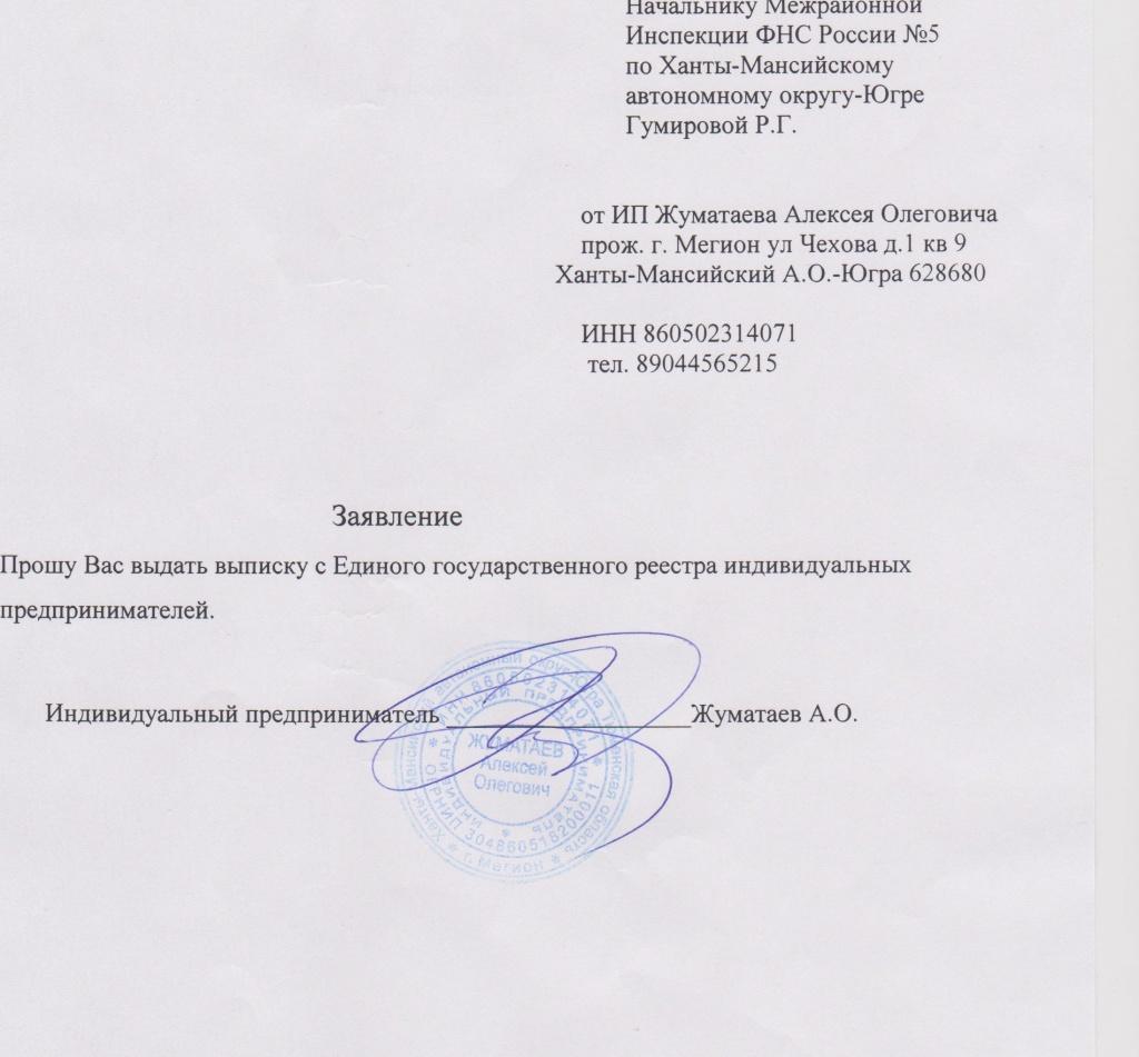 бланк письма в налоговую инспекцию заказать выписку
